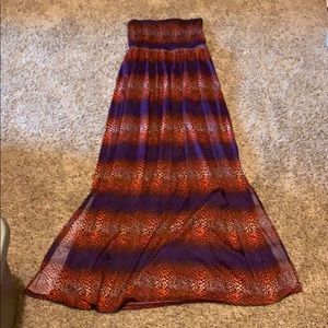 Strapless red, purple, and orange patterned dress
